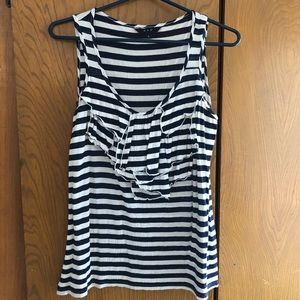 S & D Navy/White Striped Sleeveless Top, Size L